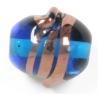 Glass Lamp Bead 15x14mm Twister Deep Aqua/Bronze
